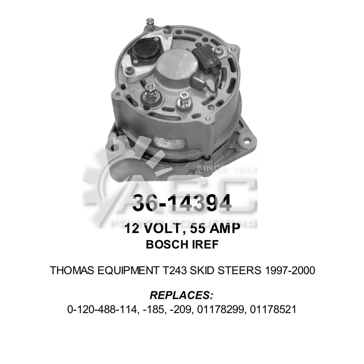 A241427_ASC, Alternator, 12V, 55 Amp, IR, EF, CW, Bosch, Reman