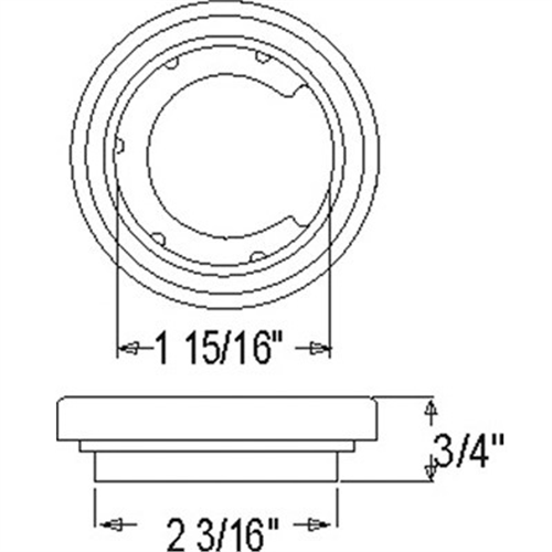 A54GB_OPTRONICS A54GB Flush Ground Grommet for 2 in. Lights