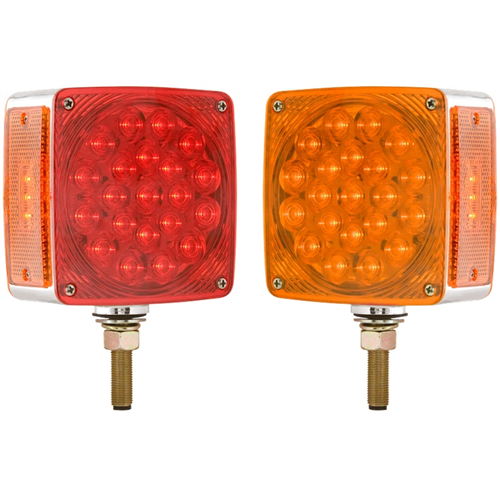 STL53ARDB_OPTRONICS STL53ARDB Square Dual Face Red Yellow Pedestal Mount Light Hard Wired Driver Side