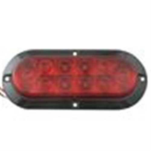 STL78RHMB_OPTRONICS STL78RHMB 10- LED 6 in. Red Flange Surface Mount Stop Turn Tail Light  Hard Wired 3-Way Female PL-3 Connector