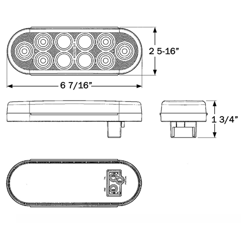 STL82RCB_OPTRONICS STL82RCB Clear Lens Red Stop Turn Tail Light PL-3 Connection